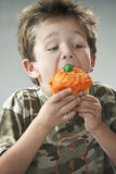 Young Boy Eating Cupcake Stock Image