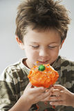 Young Boy Eating Cupcake Stock Photography