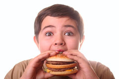 Young boy eating hamburger Stock Images