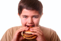 Young boy eating hamburger. On white Royalty Free Stock Photography