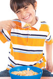 Young boy eating his breakfast Royalty Free Stock Images