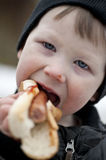 Young boy eating hotdog Stock Images