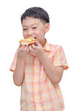 Young boy eating pizza over white Stock Photography