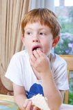 Young boy eating a sandwich Stock Images
