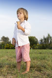 Young boy eating a tasty ice cream Royalty Free Stock Photo