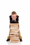 Young boy with encyclopedia Stock Photos