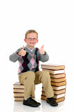 Young boy with encyclopedia Royalty Free Stock Photo