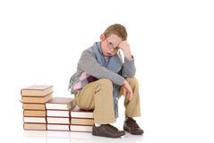 Young boy with encyclopedia Stock Image
