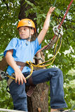 Boy engaged in climbing with tree. Royalty Free Stock Photos