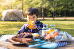 Young boy enjoying breakfast Royalty Free Stock Photos