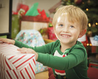 Young Boy Enjoying Christmas Morning Near The Tree Stock Images