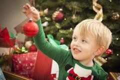 Young Boy Enjoying Christmas Morning Near The Tree Stock Photos
