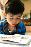 Young boy enjoying his reading. Book, indoor setting Royalty Free Stock Photography