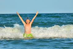 Young boy enjoying the sea Royalty Free Stock Image
