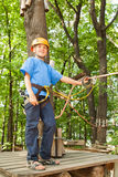 Boy with equipment climber happy success. stock images