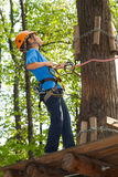 Boy with equipment climber ready to go. Royalty Free Stock Photography