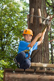 Boy with equipment climber ready to go down Royalty Free Stock Photos