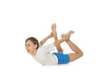 Young boy exercising Royalty Free Stock Photo