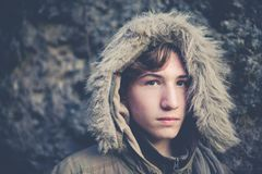 Young boy explorer with hood Royalty Free Stock Photos