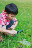Young boy exploring nature with magnifying glass. Outdoors in th Stock Images