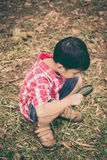 Young boy exploring nature with magnifying glass. Outdoors. Vint Stock Images