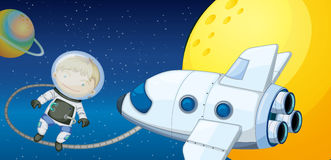 A young boy exploring the space. Illustration of a young boy exploring the space Royalty Free Stock Photo