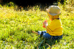A Private Discovery. A young boy exploring the world around him in a grassy field on a late summer or early autumn afternoon during the golden hour. Side lit stock photography