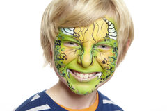 Young boy with face painting monster royalty free stock images