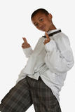 Young boy fashion. Cute nine year old boy posing over white Royalty Free Stock Photos