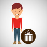 Young boy fathers day celebration gift. Vector illustration eps 10 Royalty Free Stock Image