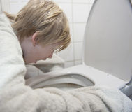 Young boy feel sick Stock Photos