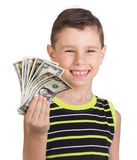 Young boy feeling happy with his money Royalty Free Stock Photos