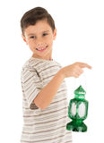 Young boy feeling happy with Ramadan lantern Royalty Free Stock Photos