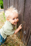 Young Boy by Fence royalty free stock image