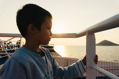 Young boy on a ferry-boat Royalty Free Stock Photos