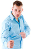 Young boy in fightpose royalty free stock image