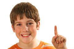 Young boy finger. Photo of a young boy finger isolated on white Royalty Free Stock Image