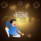 Young boy with firecracker for Happy Diwali. Happy boy playing with firecrackers on urban city view background for Indian Festival of Lights, Happy Diwali Stock Photos