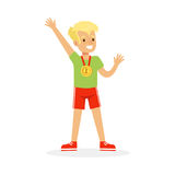 Young boy with a first place medal, kid celebrating his golden medal cartoon vector Illustration. On a white background Stock Photo