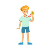 Young boy with a first place medal, kids individual sport cartoon vector Illustration. On a white background Royalty Free Stock Image