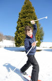 Young boy for first time with cross-country skis Stock Photography