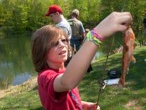Young Boy Fishing Stock Image