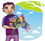 Young boy with flowers Royalty Free Stock Images