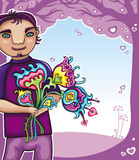 Young boy with flowers Stock Image