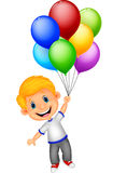 Young boy flying with balloon Stock Photography