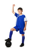 A young boy football player Stock Image
