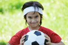 Young boy with football soccer Stock Photo