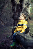 Young boy at the forest Stock Photo