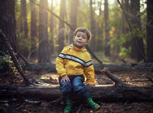 Young boy at the forest Stock Photos