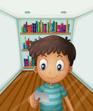 A young boy in front of the bookshelves. Illustration of a young boy in front of the bookshelves stock illustration
